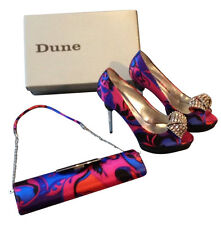 Genuine Dune OCH027V Jazette Large Jewel Size 6 Matching Heels & Clutch Bag Set