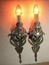 Sconces Antique 1906 Scottish Thistle Cast Solid Brass Restored Pair (2)