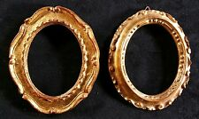 """Pair of Small Antique Gilded Oval Wood Frames 4.5"""" x 3.75"""" No Glass"""