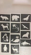 30 x north & south pole Arctic themed stencils for glitter tattoos Antarctica