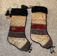 Lot 2 NEW Villa Bacci Large Christmas Stocking Gold Red Black Animal Print Jewel