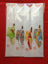 4 sets of Japanese chopstick holders with origami kimono paper dolls