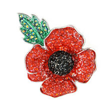 Remembrance Day Poppy 4 Petals Large Brooch Enamel Crystal Charity Donation Gift