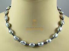 Perlenkette China-Zuchtperlen Süßwasser silber und dunkelgraue Perlen Halskette