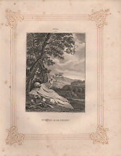 c1850 VICTORIAN PRINT ~ ST BRUNO IN THE DESERT ~ MOLA