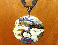 Russian Black Lip Shell pendant Repro KLIMT The Maiden Virgin HAND PAINTED GIFT