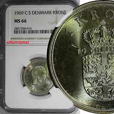 DENMARK 1969 C S 1 Krone NGC MS66 Nice Toning TOP GRADED BY NGC ! KM# 851.1