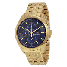 Tommy Hilfiger Blue Dial Gold-tone Stainless Steel Mens Watch 1791129