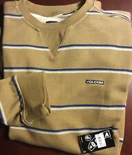NWT Volcom M Pullover Sweat shirt Hide Brown Striped Classic Fit