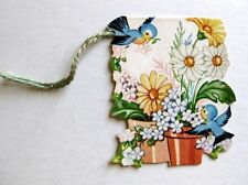 Vintage Bridge Tally Flower Pots w/ Birds