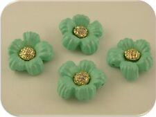 2 Hole Slider Beads QTY 4 Mint/Aqua Flowers w/ Clear Swarovski Crystal Elements