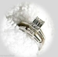 Diamond ring set with emerald cut solitaire  FREE SHIPPING
