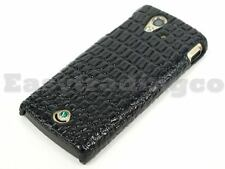 Back Cover Case Sony Ericsson Xperia Ray ST18i Black Crocodile Skin Pattern