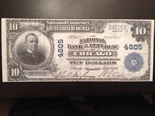 Replica $10 National Bank Note 1902 National Bank Of The Republic Chicago, IL