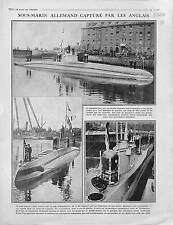 Sous-Marin Submarine U-Boat Kaiserliche Marine Dock Port London UK War 1916 WWI