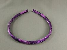"Purple Black White snake skin lizard print satin thin skinny headband 3/8"" wide"