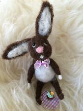Ooak needle felted easter rabbit flower  new 1:12 Miniature by miss.sebia mouse
