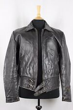 Vintage 50s German Flight Motorcycle Biker Racer Leather Jacket Luftwaffe Small