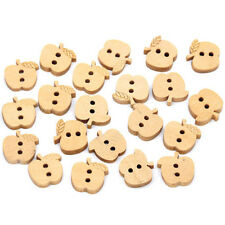 30pk Small Natural Wooden Apple Buttons 12mm