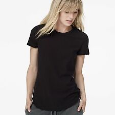 NWT JAMES PERSE Sz2(S/M) CASUAL SHEER CREW NECK CAP SLEEVE TEE IN BLACK $105.00