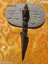 "TIBETAN BUDDHIST 5"" COPPER ON BRASS 3 FACE & MAKARA TANTRIC RITUAL PHURBA KILA"
