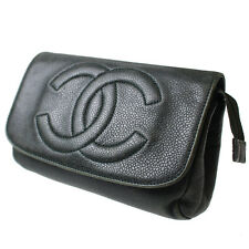 CHANEL Cosmetic Pouch Dark Green Caviar skin Leather Vintage Authentic #7406 W