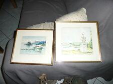 lot de 2 aquarelles ancienne chateau et paysages