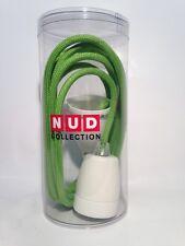 NUD Classic Pendelleuchte - Porzellanfassung weiss - Textilkabel 3m - Apfelgrün