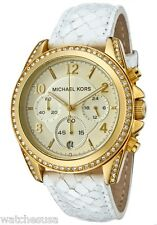 Michael Kors MK5282 Women's Gold Tone Case & Dial White leather Band Watch