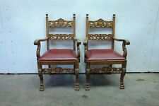 5508001-4 : PAIR OF ANTIQUE GERMAN CARVED PAW CLAW ARM CHAIRS