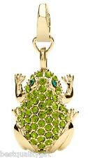 NEW-FOSSIL GOLD TONE+GREEN,EMERALD PAVE CRYSTAL FROG CHARM PENDANT-JA5638710