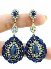 925 STERLING SILVER ONYX SAPPHIRE EARRINGS TURKISH Costume Jewellery Women E1360