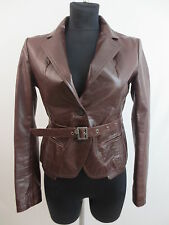Patrizia Pepe Jacke Lederjacke Lederblazer Braun Leather Jacket It.44 D.40 TOP