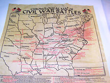 "16 1/2"" Civil War Chronological Battle Map Anitique Vintage Confederate Made USA"