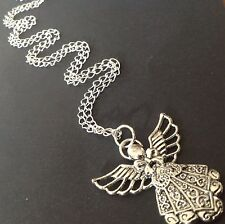 Bijoux Long Chain Necklace With A Large Tibetan Fairy Guardian Angel Pendant