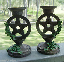 SET OF PENTAGRAM ALTAR CANDLE HOLDERS Wicca Witch Pagan Goth PENTACLE HOLDERS