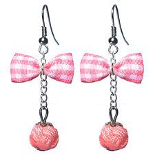 Boucles D'oreilles femme rétro pin up noeud papillon carreaux vichy perle rose