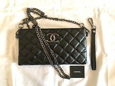 Chanel VIP Gift - Black Women's Clutch Purse/Hand Bag w/ Chain