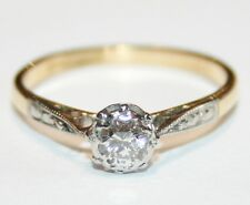 Vintage 18ct Gold & Platinum Diamond Solitaire Engagement Ring 0.25cts  Size M