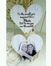 Personalised photo hanging wooden hearts mothers day keepsake sign plaque gift
