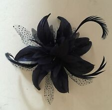 Navy Blue Hair Flower Fascinator Comb Weddings Christenings Hen Nights Parties