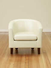 Bonded Leather PU Tub Chair Armchair Dining Living Room Office Furniture Ivory