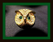 Vintage Gold-tone Owl Brooch w/ Clear and Emeral Green Rhinestone Details #1867