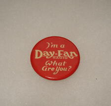 1920's Early Vintage Day Fan Radio Trade Advertising Celluloid Pinback Pin