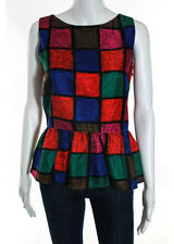 NWT LEONA BY LAUREN CONRAD Multicolor Silk Color Blocked Peplum Blouse Sz 6 $212