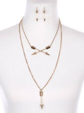 "16"" gold crossed  arrow layered western tribal Necklace 1.50"" earrings"