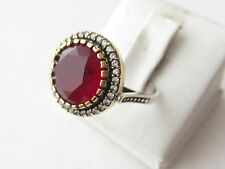 925 Sterling Silver Round Turkish Ottoman Handmade Hurrem Sultan Ruby Ring 8.25