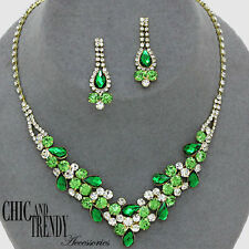 STATEMENT CRYSTAL PROM FORMAL WEDDING NECKLACE JEWELRY SET CHIC ACCESSORIES
