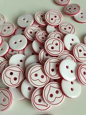 Heart engraved small cute 12.5mm white&red plastic Buttons x 50 crafts/baby/sew