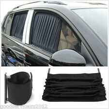 2 Pcs Black Adjustable Vehicles Window UV Sunshade Visor Mesh Interlock Curtain